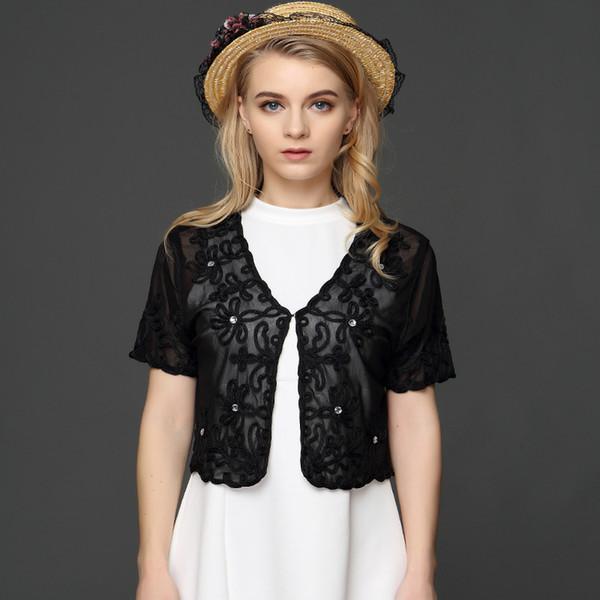 Muslim Style Summer Thin Short Sleeve V Neck Women Cardigan Bolero Embroidery Floral Rhinestone Lace Mesh Shrugs Jacket