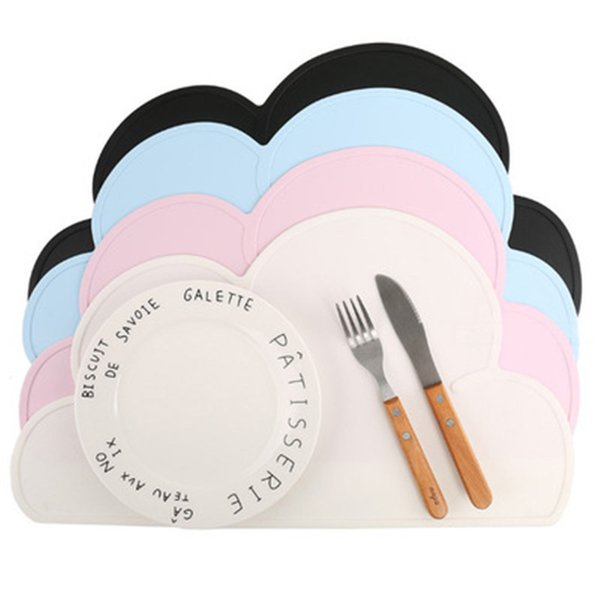 ideacherry Babies Clouds Silicone Table Mats Nordic Style Waterproof Mobile Platemat for Feeding Anti-slip Kitchen Tableware Pad