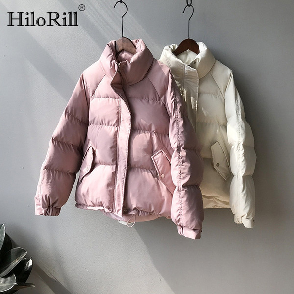 Fashion Winter Parka Women Thick Warm Padded Jacket Space Cotton Loose Casual Jackets For Ladies Solid Stand Collar Pockets Coat