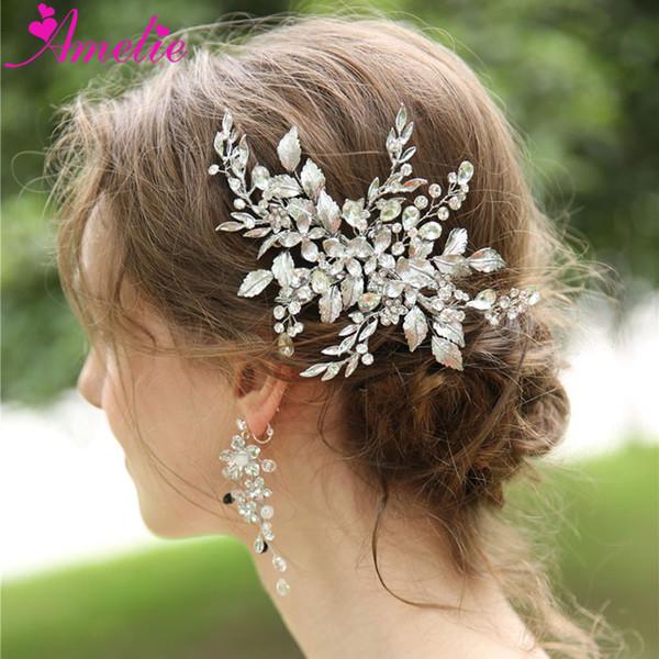Wedding Jewelry Rhinestone Headpiece Flower and Leaf Hair Clip and Earring For Bridal Women Barrette Hair Grips Earrings