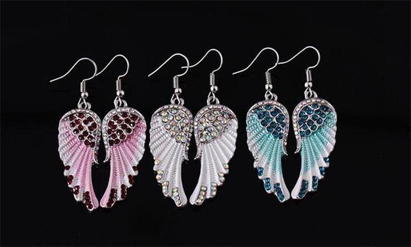 Neue mode Engelsflügel Ohrringe Für Frauen Kristall Flügel Ohrringe Rot Blau Weiß Farbe Bling Flügel baumeln Ohrringe Schmuck Geschenk-P