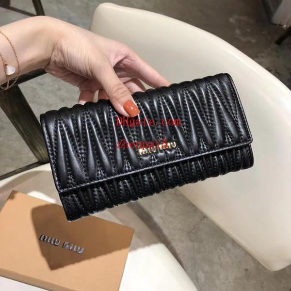 2019 marque sacs Classique Longue section jacquard en relief en peau de mouton sac en cuir véritable Totes Sacs sacs à main sac à main sac à main pour femmes AB-6