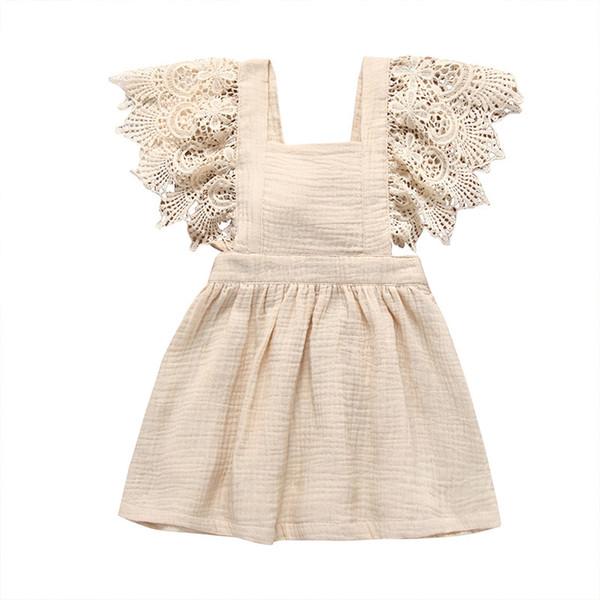Novos vestidos da menina Do Bebê Lace Manga Sólida de Algodão Macio de Linho Para Trás Bowknot Vestido Da Criança roupas 2019 Verão