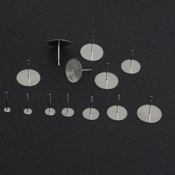 Çelik Yassı Pad Küpe Çıtçıt Takı için DIY Takı Bulguları yapma ile 3-12mm 100pcs / lot Paslanmaz Gümüş Ton