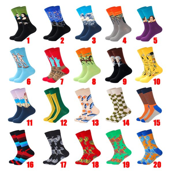 Socks wholesaLIONZONE 2019Autumn Winter Retro Men Plus Personality Art Van Gogh Mural World Famous Painting Male Socks Oil Funny Happy Socks