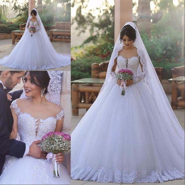 2017 Árabe Dubai Lace Ball Gown Vestido De Noiva Plus Size manga Comprida Sheer Jewel Neck ilusão Lantejoula Tiered Tulle branco vestidos de novia