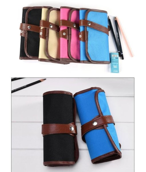 36 Holes Pencil Case Roll Up Painting Pen Bag Holder - PU Leather Canvas Makeup Brush Storage Pouch School Stationery