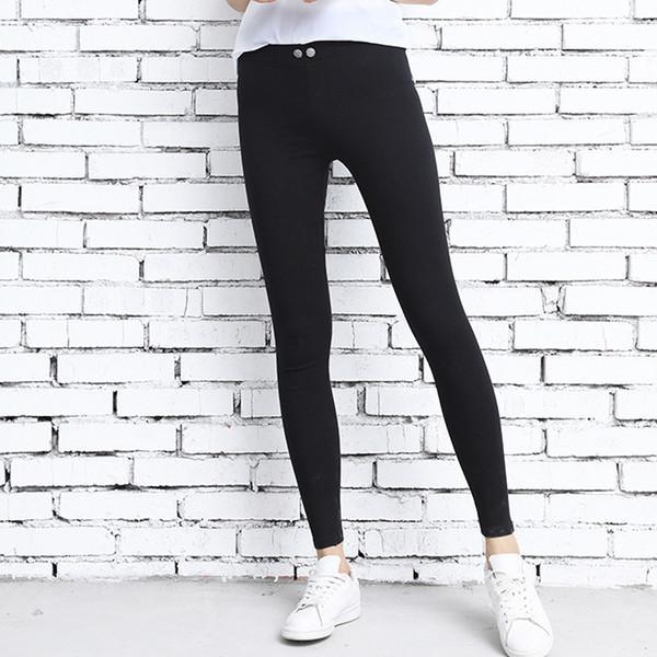 Kadınlar Yüksek Bel Stretch Pantolon Lady Yüksek Elastik Skinny Siyah Pantolon Moda Açık İnce Sıkı Kalem Pantolon giyim L-JJT391