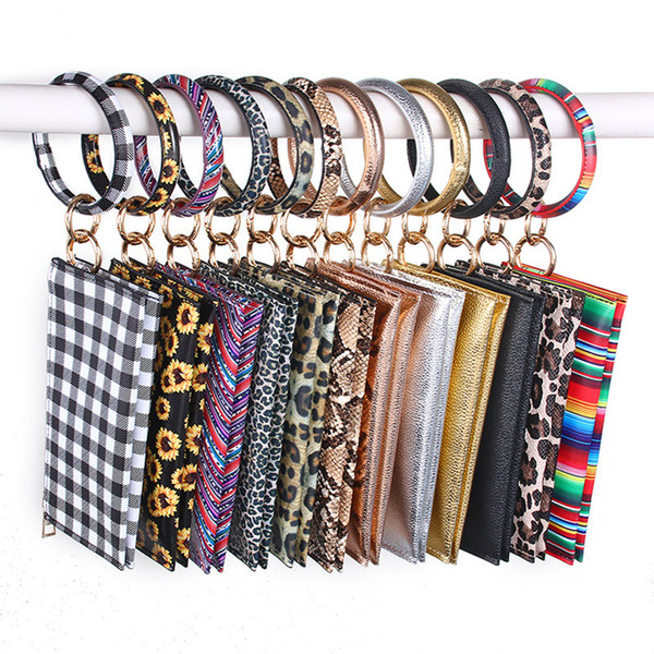 top popular Leopard Leather Bracelet Key Chain Plaid Buffalo Wallet PU Wrist Round Tassel Pendant Wristbands Keychain Clutch Purse Accessory LJJA3602-14 2021