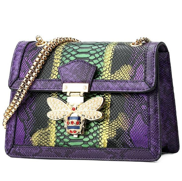 Designer-outlet brand women handbag fashion serpentine shoulder bag personality studded bees chain bag fashion contrast leather shoulder bag