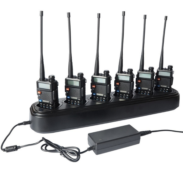 Universel Rapid Multi Chargeur Baofeng Walkie Talkie Radio Accessoires Funtional Six Way Charger pour Radio De Poche UV-5RX Plus