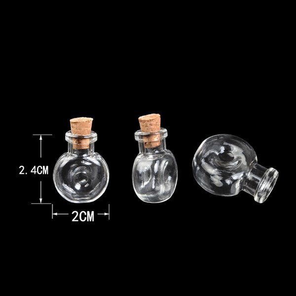 Mini Glass Winebottle Pendants Small Wishing Bottles With Cork Arts Jars Transparent Clear Gifts Vial XO 100pcs