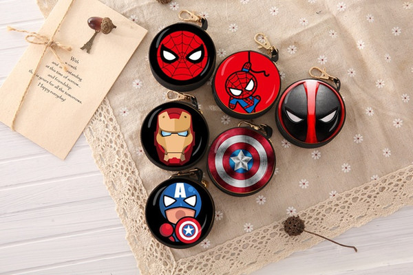 Zipper Bag Marvel super hero Earphone Cable Mini Box Portable Coin Purse Headphone Bag Carrying Pouch Pocket Cover Storage