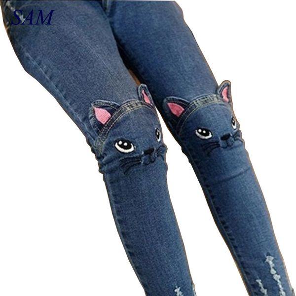 Spring Fashion Kids Girls Jeans Pants Girls Leggings Cartoon Cat Children Pencil Pants Long Trousers Pantalon Fillette