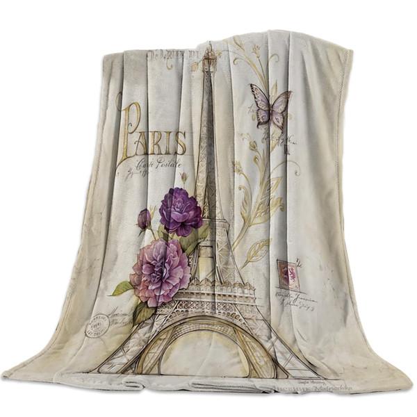 Retro Butterfly Paris Tower Flowers Throw Blanket Soft Warm Microfiber Blanket Flannel Blanket