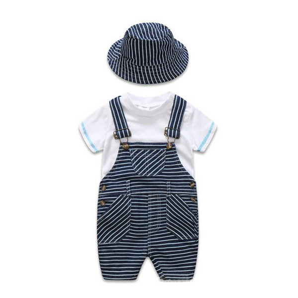 2019 Summer newborn baby boy clothes Infant Outfits kids designer Clothes 3pcs/set white T-shirt+suspender trousers+hat boys sets A2617