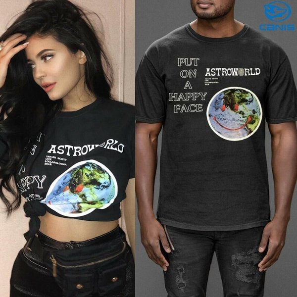 New Fashion Hip Hop T Shirt Men Women Designer Travis Scott Astroworld Print Logo Couple Lovers T-Shirts Free Shipping