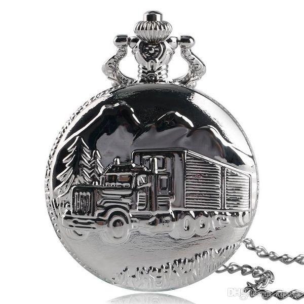 Modern Truck Lorry Pattern Pocket Watch Fashion Silver Quartz Necklace Pendant Chain for Men Women Simple Style Clock