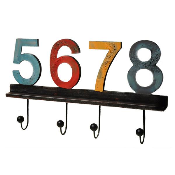 Chapeaux Porte en bois Rangement Salon Chambre Colorful Chambre Digits Clés Espace économie Serviettes Accueil mural Crochet décoratif