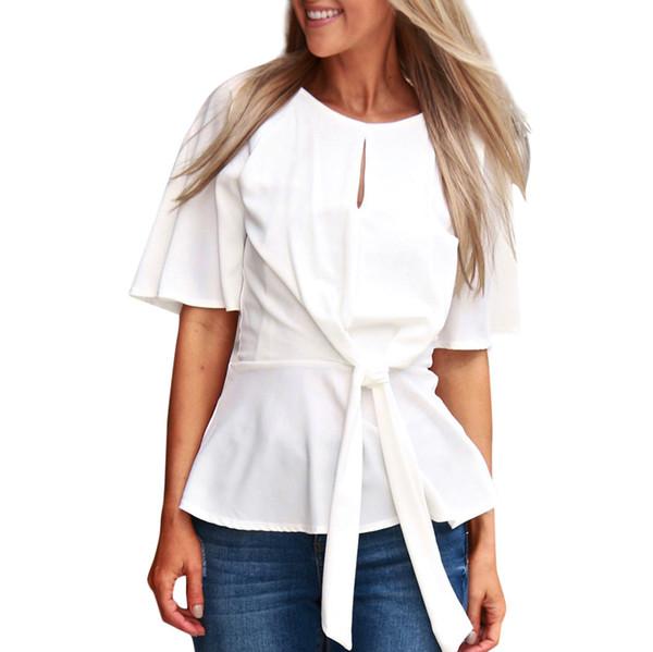 Camiseta Mujer O-cuello Tops sueltos Remiendo Cortar top de las mujeres Cinturón Codo Manga de la cintura del arco tops # G6