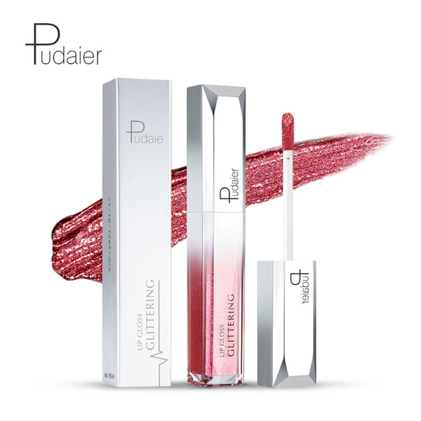 Pudaier Diamond Pearl Lip Gloss Good Texture Glaze Long-lasting Waterproof Lip Tint Shine Metallic Lipgloss Professional Makeup