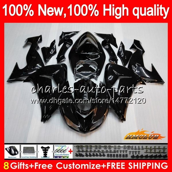 Body For KAWASAKI ZX 10 R ZX-1000 glossy black top ZX-10R 06 07 Bodywork 44HC.3 ZX1000 CC ZX10R 06 07 ZX 1000CC ZX 10R 2006 2007 Fairing kit
