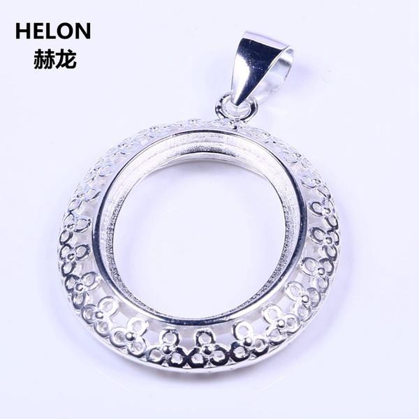 Commercio all'ingrosso 925 sterling silver 18.5x23.5mm ovale cabochon semi mount donne ciondolo gioielleria impostazione oro bianco colore