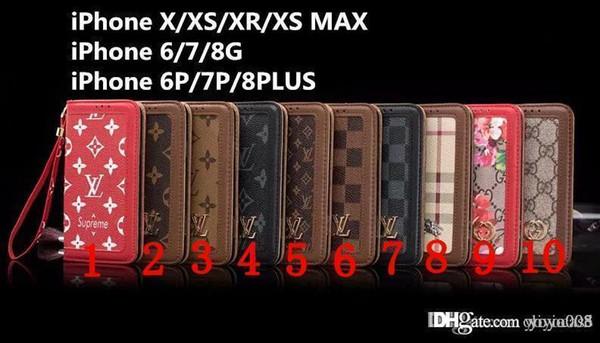 Neue Schlagledergeldbörsenmarkenfall-Telefonkastenabdeckung für iphone 7 7plus 8 8plus X XS XR XS maximales 117