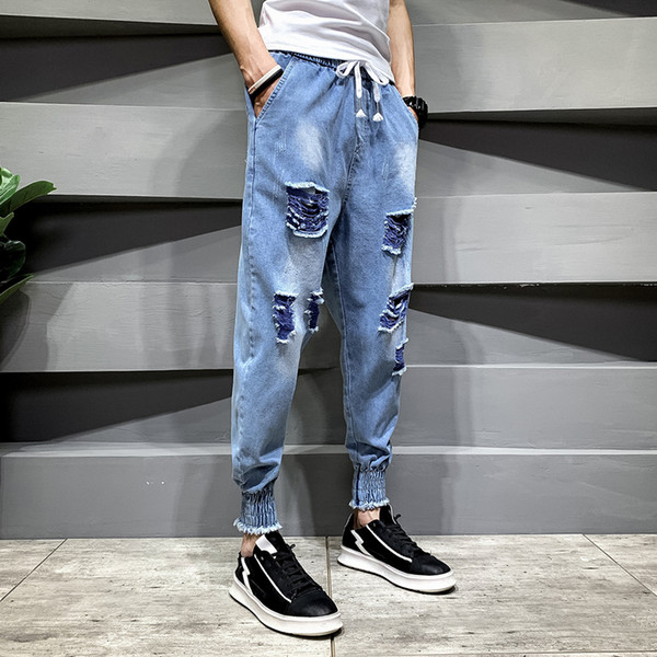 Hole jeans men's summer thin section Slim beam feet nine pants network red society guy trend light harem pants