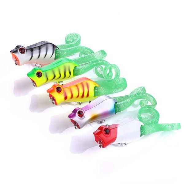 5 adet Kurbağa Popper topwater Wobbler Balıkçılık cazibesi trolling pesca yapay yem peche crankbait 5.5 cm 10g