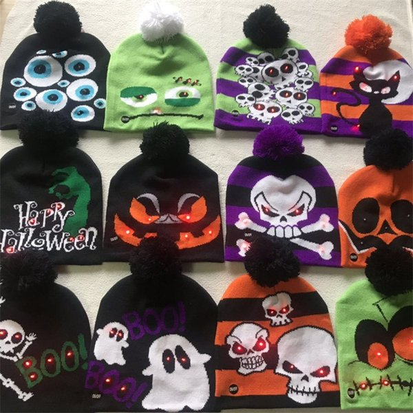 best selling Christmas LED Knitted Hat Fashion Halloween caps Light-up Beanies Hats Outdoor Light Pompon Ball Ski Cap Skull Caps MMA2443