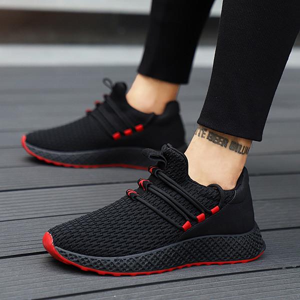 LAKESHI Yeni Nefes Örgü Erkek Ayakkabı Erkekler Için Rahat Rahat Ayakkabılar Moda Dantel-Up Aşınmaya Dayanıklı Sneakers Yaz