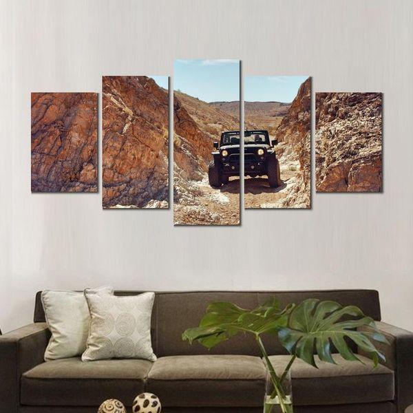 5 sets jeep suv rocks desert art poster print en lienzo para decoración del hogar