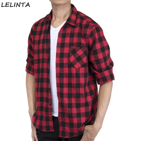 Hombres Camisa a cuadros Algodón 2018 Primavera Otoño Casual Camisa de manga larga con ajuste estándar Suave Confort Slim Fit Estilos Ropa de hombre de marca