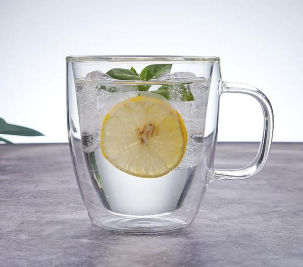 custom logo Hand blown 300ml 500ml Heat Resistant borosilicate Double Wall Layer Clear Glass Tea Coffee Cups Mugs