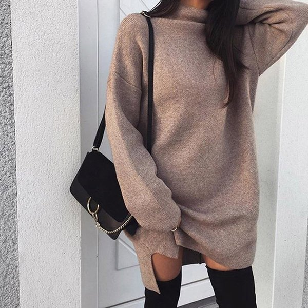 top popular Bigsweety Women Autumn Knit Sweater Dress 2018 Fashion Turtleneck Side Split Elastic Solid Color Knitted Dress Vestidos 2018 New Y19012102 2021