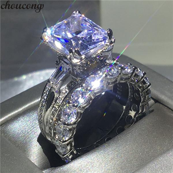 Choucong Eiffel Tower Shape ring 8ct Diamond 925 Sterling Silver Engagement Wedding Band Anelli set per le donne da sposa bijoux