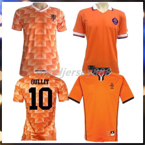 Retro 1988 Holanda Jersey de Futebol Van Basten 1998 Holland Retro camisa de futebol BERGKAMP 97 98 Gullit