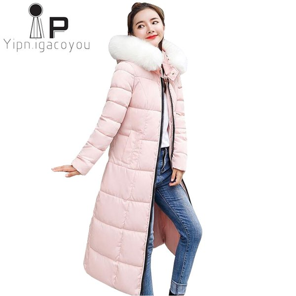 Cappotto lungo rosso invernale Cappotto coreano Plus size Parka Collo di pelliccia grande Giacca con cappuccio Donna Capispalla rosa Cappotto caldo da donna