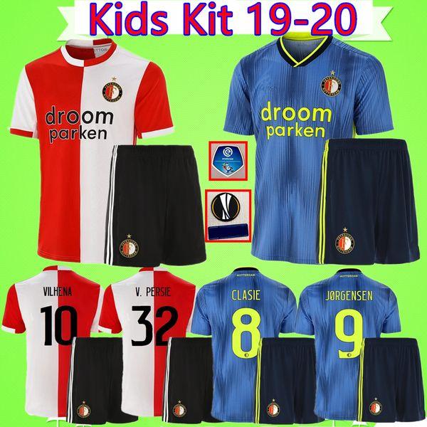 Kit de niños # 32 V PERSIE 19 20 Camiseta de fútbol Feyenoord BERGHUIS 2019 2020 VILHENA camiseta de fútbol para niños VESTIDO traje de niños LARSSON KOKCU maillot