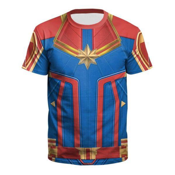 Chegada nova Menwomen T-shirt Versão Do Filme 3d Capitão Marvel Carol Danvers Traje Cosplay Zentai Superhero Tshirt Tee C19042201