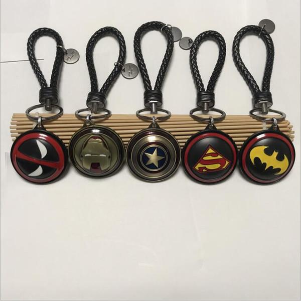 Captain America iron man shield thor hammer with leather rope key chain pendant Avengers 4 theme key ring Superhero style key chain