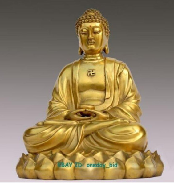 "New ++ Nice Bronze Brass Sakyamuni Gautama Amitabha Buddha Statue Figure 10""copper Decoration real Brass"
