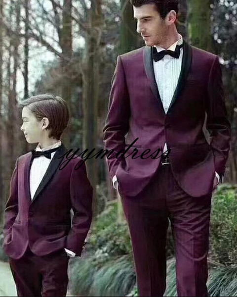 Burgundy Boys Wedding Suits 2019 Shawl Lapel Prom Suits Kids Formal Wear Tuxedos Two Piece(Jacket+Pants+Bow)