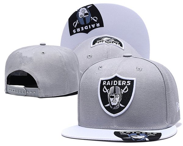 New Arrival Top Quality Raiders Grey Snapback Hats Gorras Embroidered Letter Team Logo Brands Hip Hop Cheap Sports Baseball Adjustable Caps