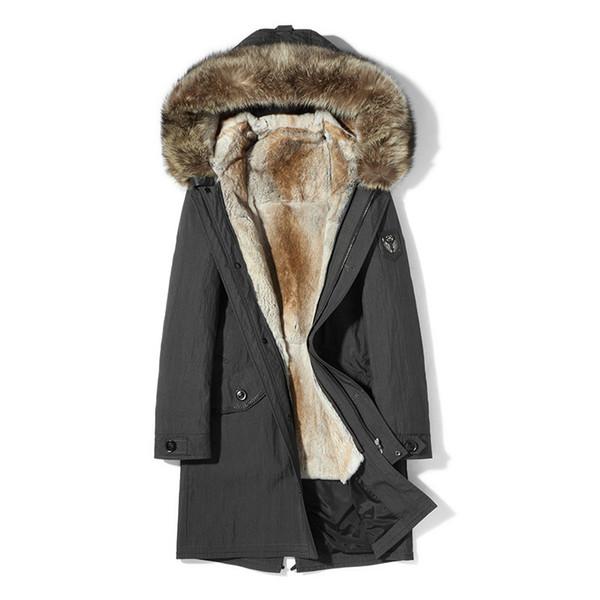 Abrigo de piel real Chaqueta de invierno para hombre Conejo natural forro de piel Parka Hombres Ropa 2018 Collar de mapache Chaquetas calientes más el tamaño MY1700