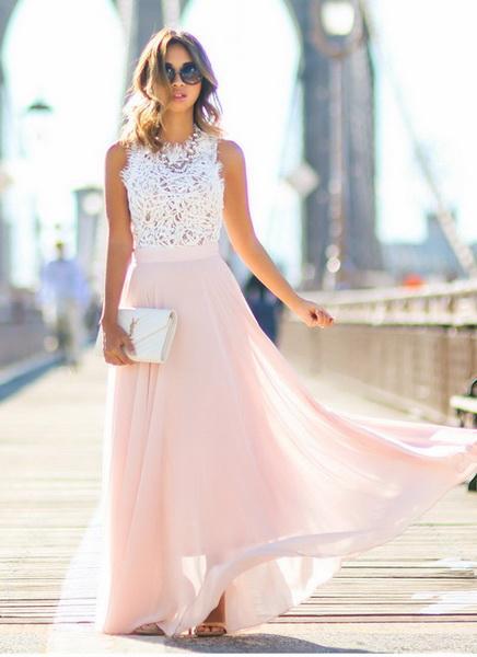 2019 neue heiße Artmode-Trenddamen Europa und Amerika neue Spitze, die Chiffon- super langes Kleidkleid kleidet