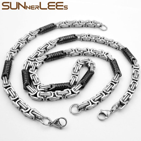 SUNNERLEES Fashion Jewelry Stainless Steel Necklace Bracelet Set 7mm Geometric Link Chain Silver Black Gold For Men Women SC91 S