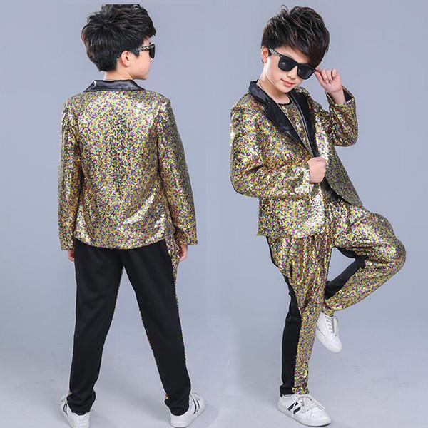 Kinder Pailletten Hosen Jacke Mantel Hip Hop Kleidung Jazz Dance Kostüme Anzug Jungen Karneval Bühnenbekleidung Gesellschaftstanz Outfits