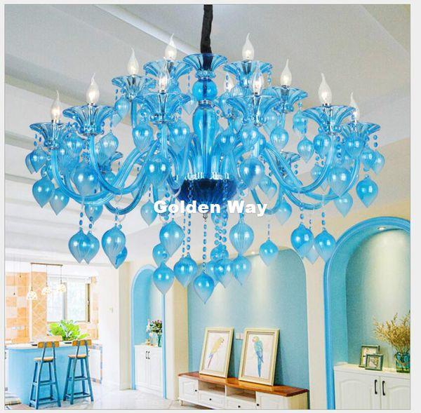 Free Shipping Sky Blue Crystal Chandelier Candle Holder Lamps Modern Crystal K9 Chandeliers Villa Living Room Hanging Lighting